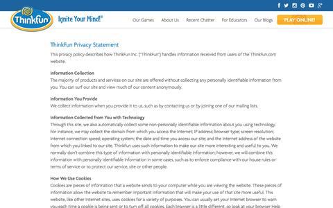 Screenshot of Privacy Page thinkfun.com - Privacy Statement - Thinkfun - captured Feb. 1, 2016