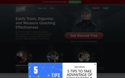 Screenshot of Home Page getlockr.com - Lockr | Advanced Sports Coaching Network - captured Jan. 31, 2016