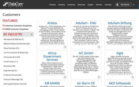 Screenshot of Case Studies Page datacore.com - Customers - captured Sept. 25, 2017