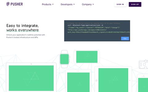 Screenshot of Developers Page pusher.com - Developers | Pusher - captured April 20, 2018