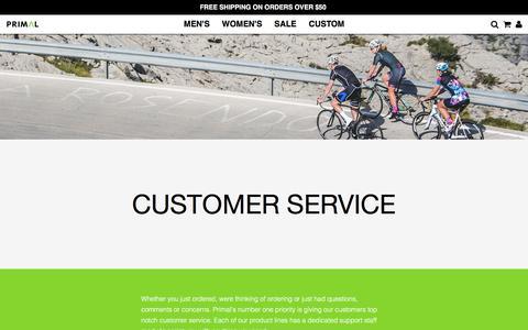 Screenshot of Support Page primalwear.com - Primal Wear Cycling Apparel | Customer service - Est. 1992 Colorado - captured July 16, 2016