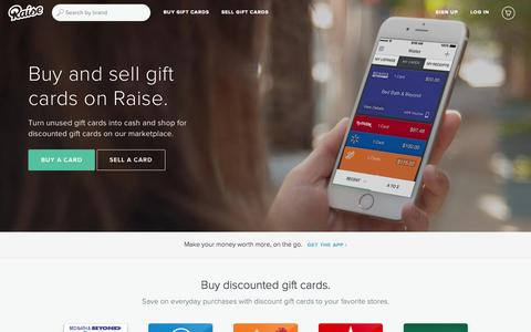Screenshot of Home Page raise.com - Raise: Buy and Sell Gift Cards - Exchange Gift Cards - captured Oct. 23, 2015