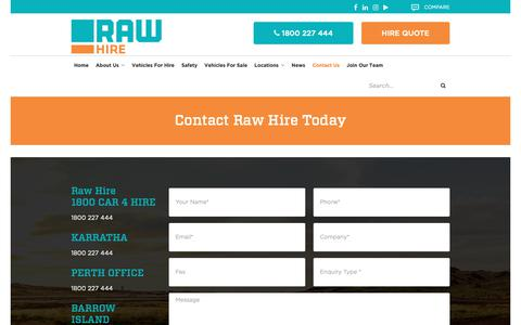 Screenshot of Contact Page rawhire.com.au - Contact Raw Hire Today For Your Next Vehicle Hire Quote - captured Dec. 11, 2018