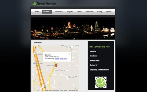 Screenshot of Maps & Directions Page cpcog.com - Directions | Central Parkway COG - captured Oct. 2, 2014