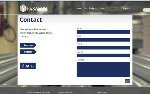 Screenshot of Contact Page hexagonrecruitment.co.uk - hexagon-recruitment | Contact Us - captured Sept. 30, 2016
