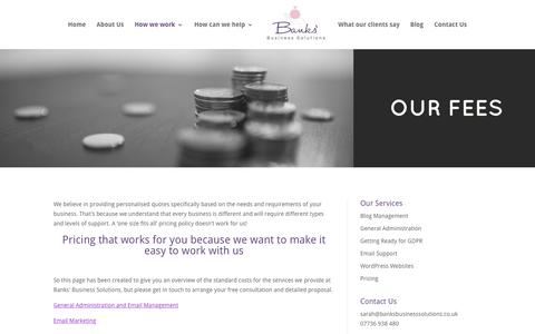 Screenshot of Pricing Page banksbusinesssolutions.co.uk - Pricing - how much does it cost to work with a virtual assistant? - captured Aug. 1, 2018