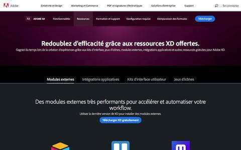 Screenshot of Pricing Page adobe.com - Kits de design d'interfaces, icônes et modules externes gratuits | Ressources Adobe XD - captured Jan. 21, 2020