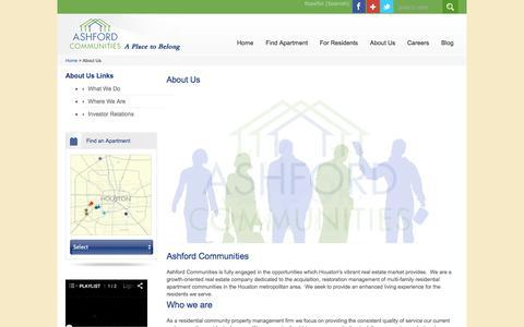 Screenshot of About Page ashfordco.com - Property Management Houston | Ashford Communities - captured Nov. 2, 2014