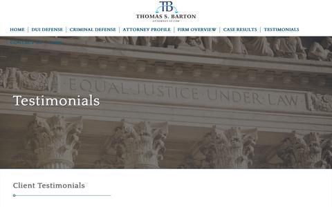 Screenshot of Testimonials Page bartonduilaw.com - Testimonials – Barton DUI Law - captured Oct. 18, 2018