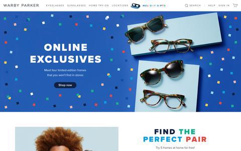 Screenshot of warbyparker.com - Glasses & Prescription Eyeglasses | Warby Parker - captured Nov. 26, 2018