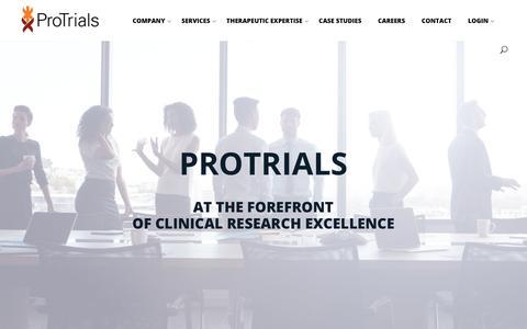 Screenshot of Home Page protrials.com - Home - Protrials - captured Sept. 29, 2018