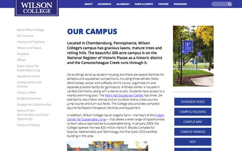 Screenshot of About Page wilson.edu - Our Campus | Wilson College - captured Feb. 17, 2016