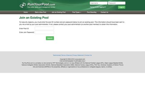 Screenshot of Signup Page runyourpool.com - Run your Football, March Madness, Baseball, Golf, and other pools at RunYourPool.com - captured Jan. 15, 2016