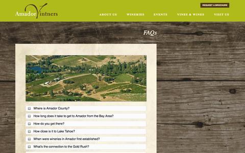 Screenshot of FAQ Page amadorwine.com - FAQs | Amador Vintners Association - captured Oct. 4, 2014