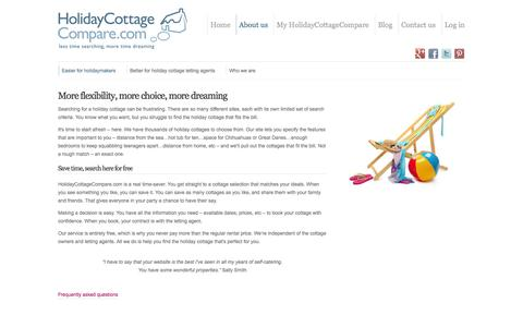 Screenshot of About Page holidaycottagecompare.com - About Us | Easier for holidaymakers | Holiday Cottage Compare - captured Sept. 30, 2014