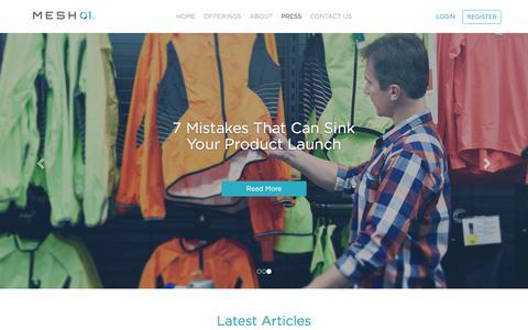 Screenshot of Press Page mesh01.com - MESH01 - Product Testing - Press - captured July 26, 2018