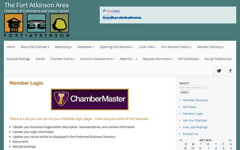 Screenshot of Login Page fortchamber.com - Login - Member Login The Fort Atkinson Area Chamber of Commerce and Visitor Center - captured Oct. 6, 2014