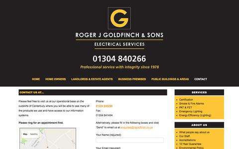 Screenshot of Contact Page rjgoldfinch.co.uk - Contact Us at 01304 840266 - Roger J Goldfinch & Sons - captured Dec. 1, 2016