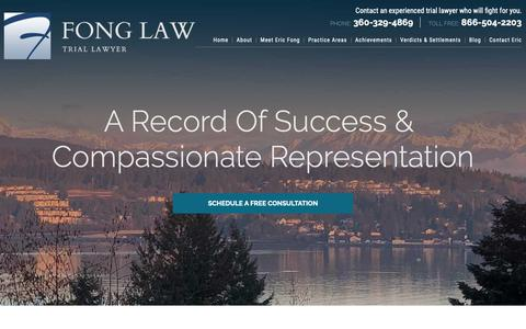 Screenshot of Home Page ericfonglaw.com - Tacoma Personal Injury Lawyer | Car Accident & Insurance Disputes - captured Oct. 24, 2018
