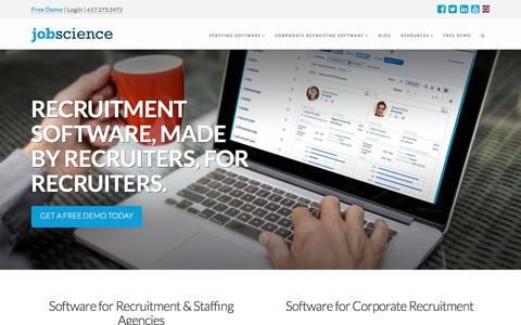 Screenshot of Home Page jobscience.com - Jobscience: Recruitment Software and Applicant Tracking System - captured Jan. 18, 2017