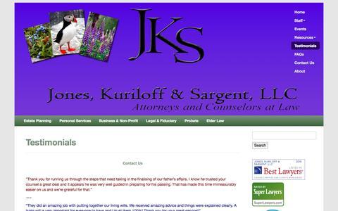 Screenshot of Testimonials Page joneskuriloffsargentlaw.com - Testimonials | Jones, Kuriloff & Sargent, LLC - Estate planning, elder law, probate, trustee services - captured Oct. 6, 2014