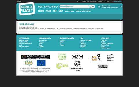 Screenshot of Terms Page africafilms.tv - VOD AfricaFilms.tv - captured Nov. 2, 2014