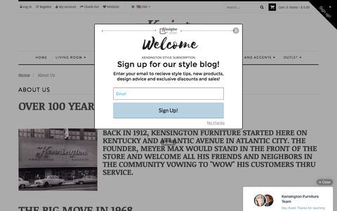Screenshot of About Page kensingtonfurniture.com - About Us – Kensington Furniture - captured Aug. 8, 2016