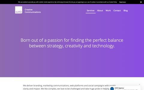 Screenshot of Services Page iuvo.agency - Our Services | Social Media | Design | Branding | iUVO - captured Oct. 13, 2018