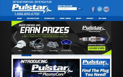 Screenshot of Home Page pulstar.com - Pulstar : Bigger Spark | More Power | Longer Life - captured Sept. 16, 2014