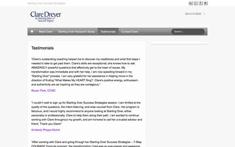 Screenshot of Testimonials Page claredreyer.com - Testimonials - Clare Dreyer - Personal Success Strategist - captured Jan. 23, 2016