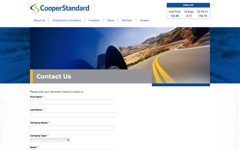Screenshot of Contact Page cooperstandard.com - Cooper Standard – Contact Us - captured Sept. 16, 2018