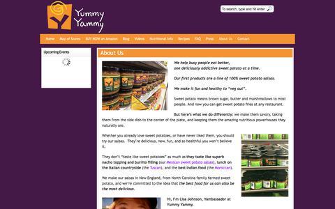 Screenshot of About Page yummyyammy.com - Healthy Sweet Potato Fat Free Salsas - captured Nov. 5, 2017