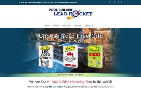 Screenshot of Home Page Privacy Page poolbuilder-marketing.com - Pool Builder Marketing | Internet Marketing Solutions for the Pool Builder Industry - captured Oct. 2, 2014