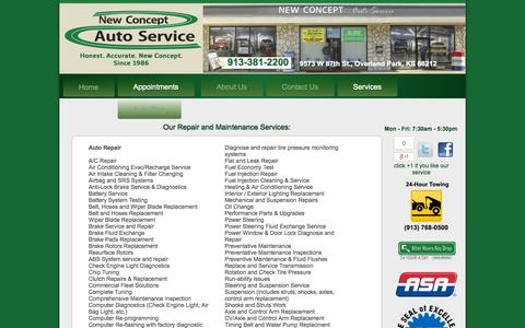 Screenshot of Services Page newconceptauto.com - New Concept Auto Service | Auto Repair Overland Park KS | Engine Repair Johnson County KS | Brake Repair 66212 | Transmission Repair 66061 | Auto Electrical Service Overland Park KS - captured Oct. 26, 2014
