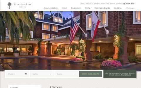 Screenshot of Jobs Page stanfordparkhotel.com - Hotel Jobs - Careers | Stanford Park Hotel - captured Aug. 18, 2016