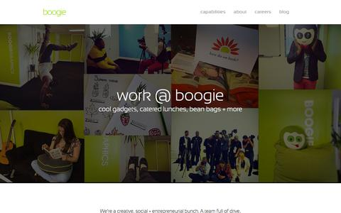 Screenshot of Jobs Page weareboogie.com - Careers | Boogie - Social Media & Creative Agency | Boogie Graphics - captured Oct. 5, 2014