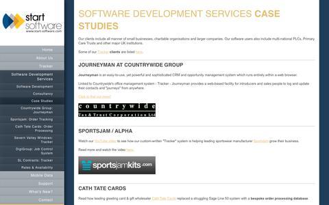 Screenshot of Case Studies Page start-software.com - Start Software - Software Development Services - Case Studies - captured Sept. 21, 2018