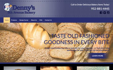 Screenshot of Home Page dennysbakery.com - Satisfy Your Cravings at Minneapolis, MN's Most Delectable Bakery! - captured Oct. 25, 2018