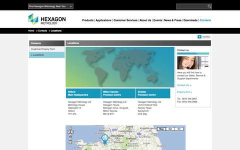 Screenshot of Locations Page hexagonmetrology.co.uk - Locations | Hexagon Metrology - UK & Ireland - captured Oct. 1, 2014