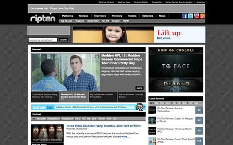 Screenshot of Home Page ripten.com - Ripten Videogame Blog - captured Sept. 19, 2014
