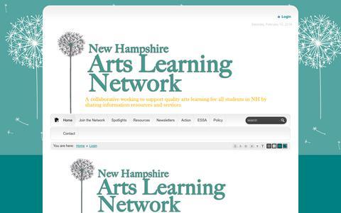 Screenshot of Login Page nhartslearningnetwork.org - NH Arts Learning Network > Home > Login - captured Feb. 11, 2018