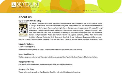 Screenshot of About Page bertolinihd.com - About Us - Bertolini Hospitality & Design - captured Oct. 5, 2014