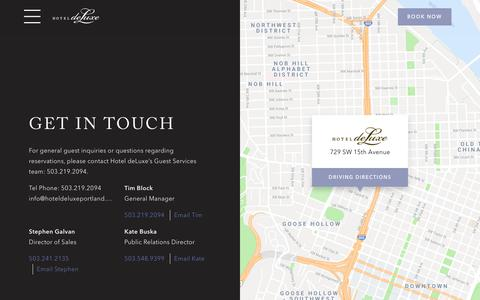Screenshot of Contact Page hoteldeluxeportland.com - Get in Touch | Hotel deLuxe - captured Sept. 30, 2018