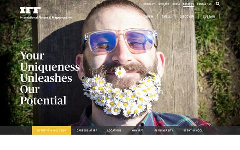 Screenshot of Jobs Page iff.com - Diversity & Inclusion in the Workplace – International Flavors & Fragrances - captured Jan. 31, 2018