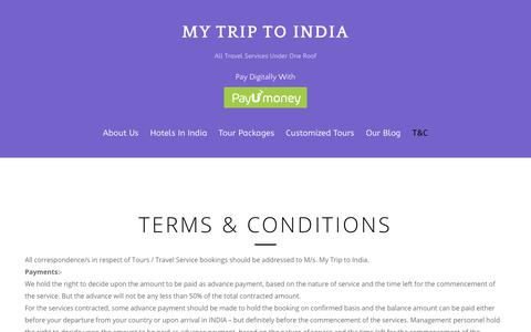 Screenshot of Terms Page mytrip-to-india.com - Terms & Conditions – My Trip To India - captured Sept. 20, 2018