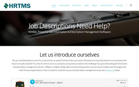 Screenshot of Home Page hrtms.com - HRTMS | Job Description Management Software - HRTMS | Job Description Management Software - captured July 15, 2018