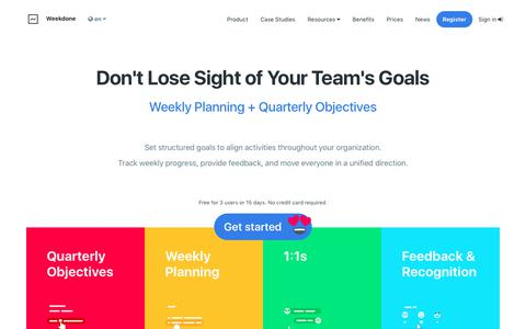 Screenshot of Home Page weekdone.com - Weekdone Weekly Planning + Quarterly Objectives and Key Results (OKR) - captured Feb. 25, 2018