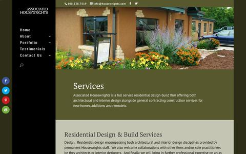 Screenshot of Services Page housewrights.com - Associated Housewrights; A Residential Design-Build Firm - captured Oct. 4, 2018