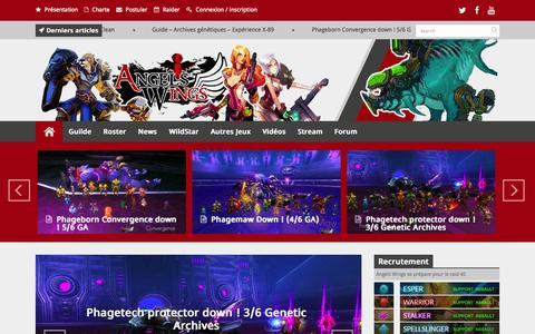 Screenshot of Home Page angels-wings.fr - Angels Wings - Guides, Vidéo, MMORPG, Guilde WildStarAngels Wings | Guilde PvE HL - captured Sept. 24, 2014