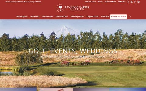 Screenshot of Home Page langdonfarms.com - Portland Golf Course & Event Venue - captured Oct. 22, 2016